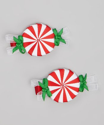 Red & White Peppermint Candy Clip Set
