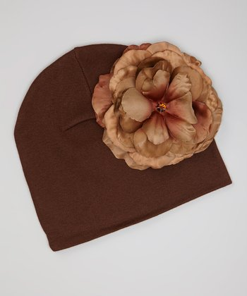 Brown & Tan Rose Beanie