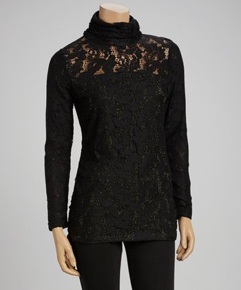 Black Lace Mock Neck Tunic