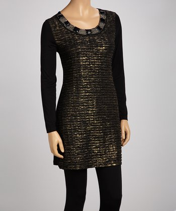 Black Jewel Scoop Neck Tunic