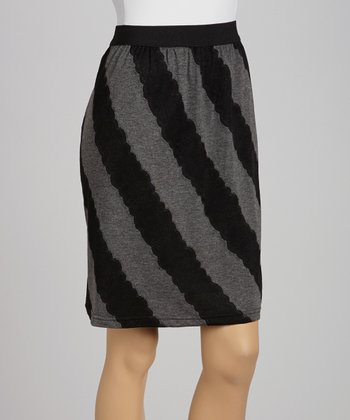 Black & Gray Scalloped Stripe Skirt