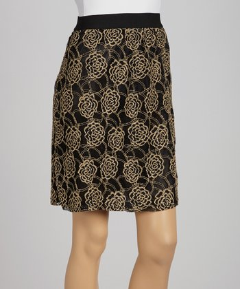 Black & Gold Rose Lace Skirt