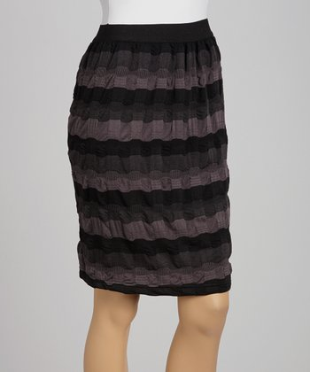 Black & Gray Stripe Skirt