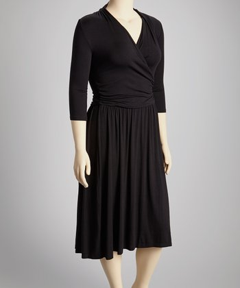 Black Noir Brenna Ballet Faux Wrap Dress - Plus