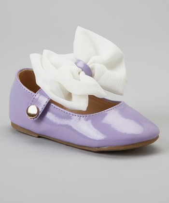 Purple & White Bow Cupcake Mary Jane Flats