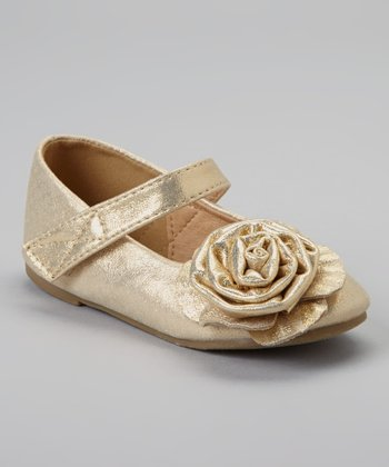 Gold Stella Rosette Mary Jane