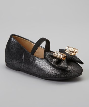Black & Gold Metallic Cupcake Strap Flat