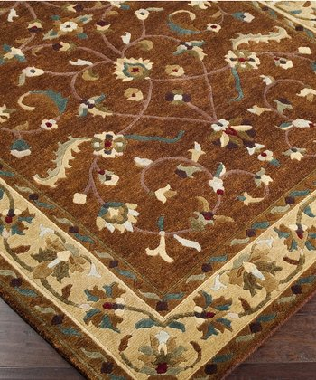 Chocolate & Pale Gold Anastacia Wool Rug
