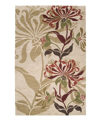 Ivory & Rust Floral Apollo Wool Rug