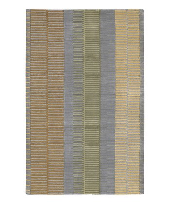 Gray Stripe Artist Studio Wool Rug