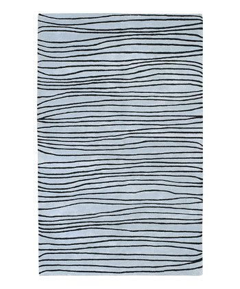 Blue & Black Wave Artist Studio Wool Rug