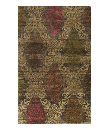 Brown Brocade Wool Rug