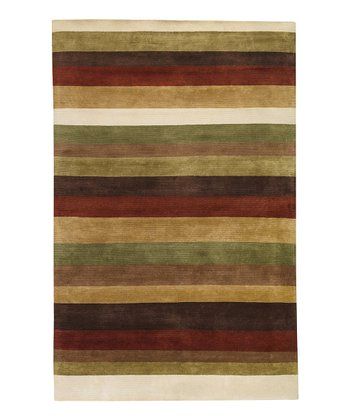 Ivory & Red Stripe Dimensions Wool Rug