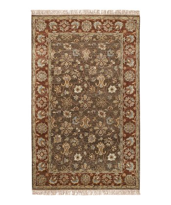 Brown & Burgundy Estate Wool Rug