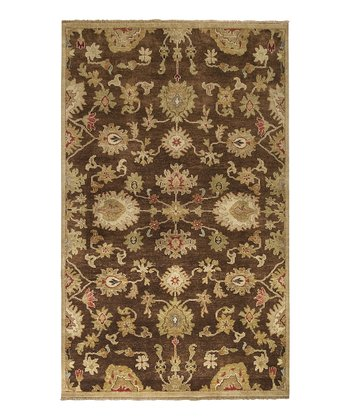 Brown & Gold Estate Wool Rug