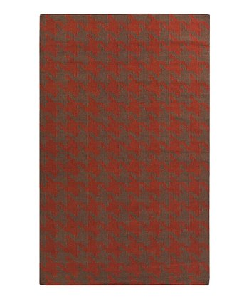 Brick & Brown Houndstooth Frontier Wool Rug