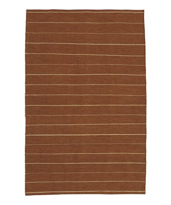 Brick Red & Beige Stripe Frontier Wool Rug