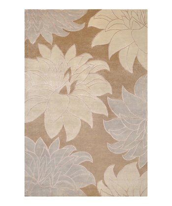Taupe & Pale Blue Mugal Wool Rug
