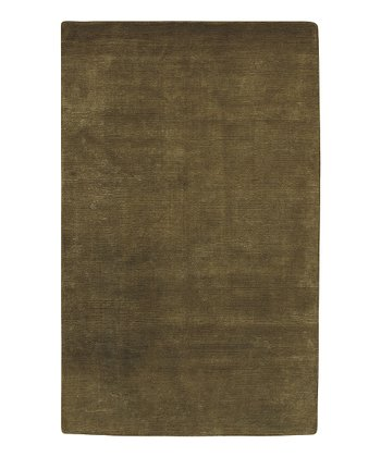 Olive Green & Cream Mugal Wool Rug