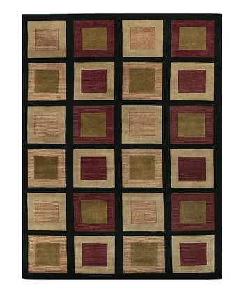 Black & Olive Green Mugal Wool Rug