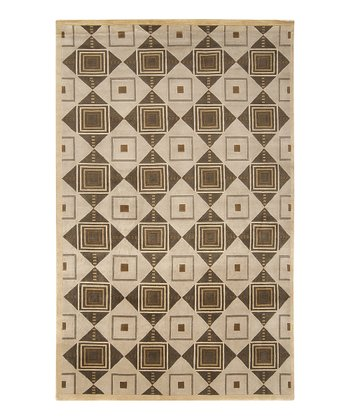 Sand Beige & Gray Mugal Wool Rug