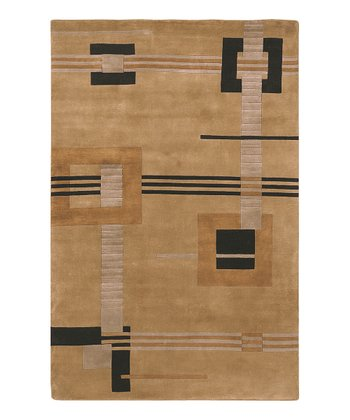 Caramel & Black Mugal Wool Rug