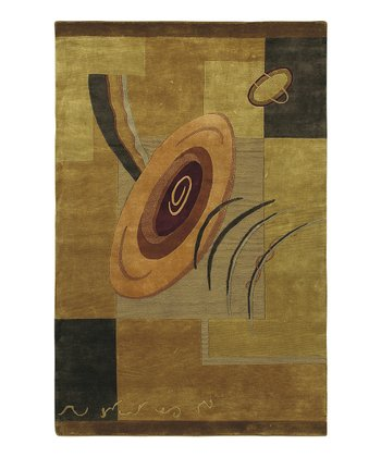 Gold & Brown Mugal Wool Rug
