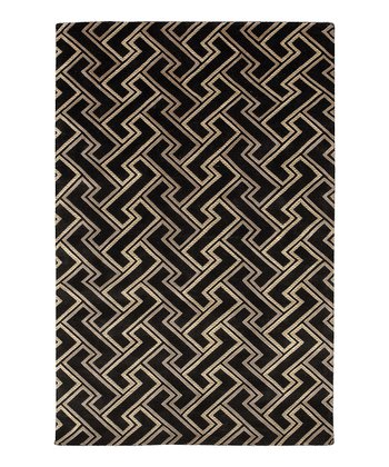 Black Mugal Wool Rug