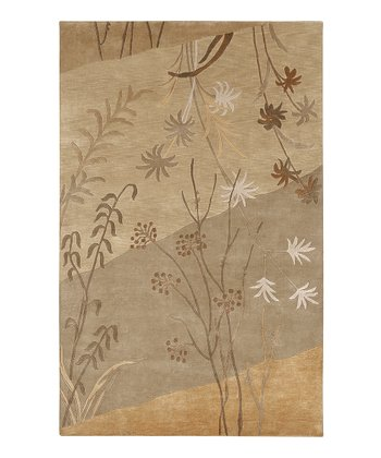 Tan & Beige Foliage Mugal Wool Rug