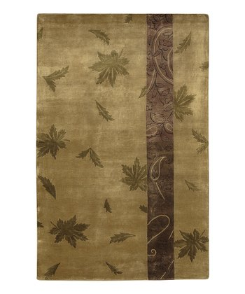 Tan & Olive Leaf Mugal Wool Rug