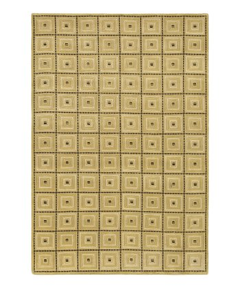 Gold Grid Mugal Wool Rug