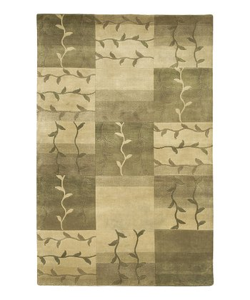 Beige Tile Mugal Wool Rug