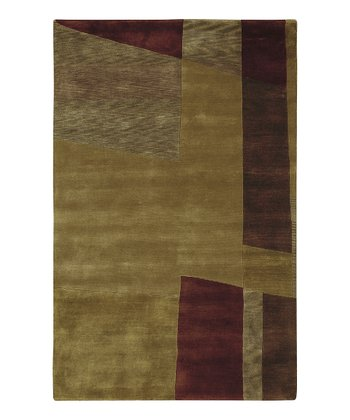 Olive Green & Garnet Rose Mugal Wool Rug