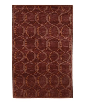 Burgundy & Rose Mugal Wool Rug
