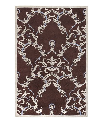 Brown & Pale Blue Damask Mugal Wool Rug