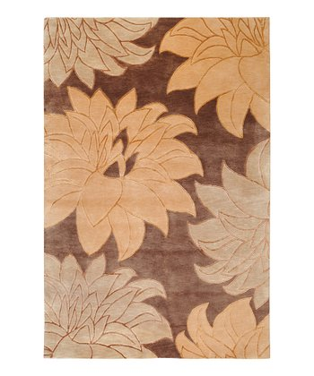 Brown & Tan Mugal Wool Rug