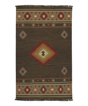 Dark Beige Tribal Jewel Tone Wool Rug