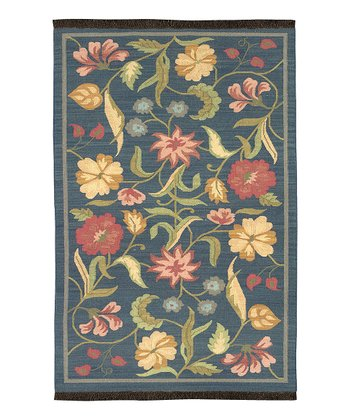 Midnight Blue Floral Jewel Tone Wool Rug