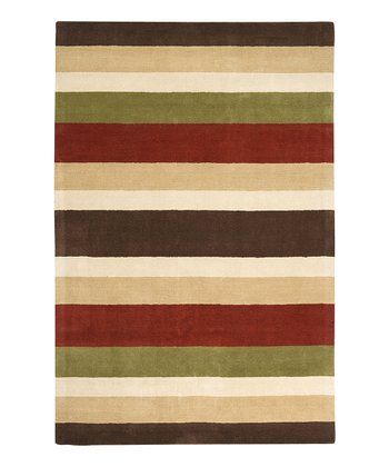 Dark Brown Stipe Loft Wool Rug