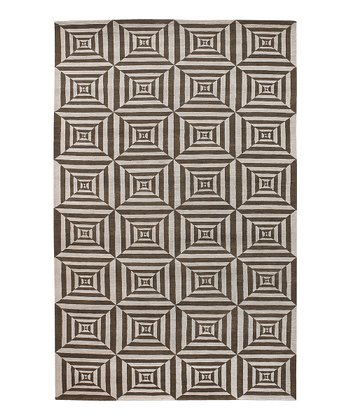 Brown & Cream Lhotse Wool Rug