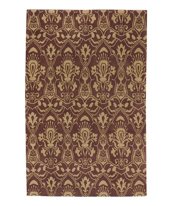 Wine & Golden Tan Lhotse Wool Rug