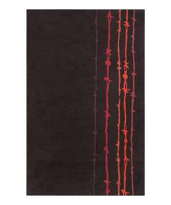 Dark Chocolate & Red Barbwire Signature Wool Rug