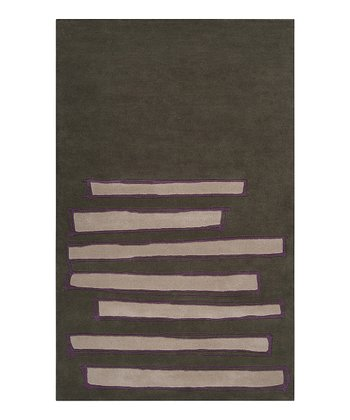 Gray Green & Purple Bar Signature Wool Rug