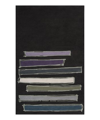 Charcoal & Blue Bar Signature Wool Rug