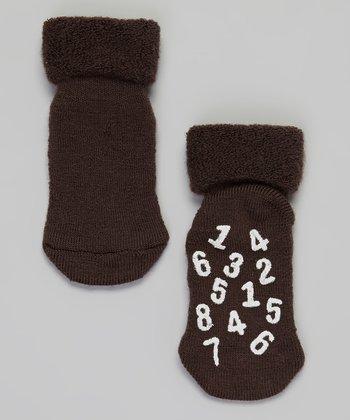 Brown & White Number Wool Socks - Infant & Toddler