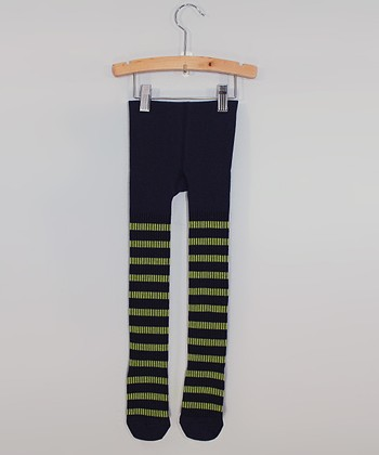 Navy & Green Stripe Ribbed Tights - Toddler & Girls