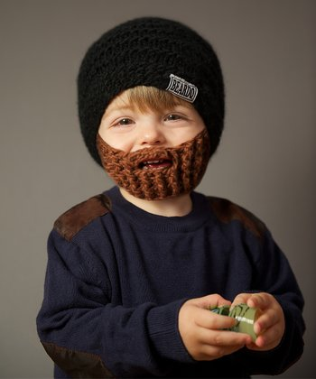 Black Beanie & Brown Beard - Kids