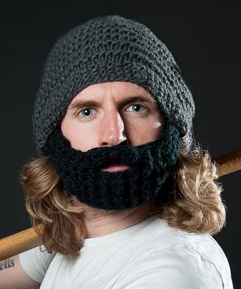 Dark Gray Beanie & Black Beard - Adult