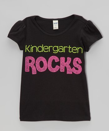Black 'Kindergarten Rocks' Tee - Girls