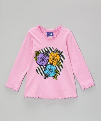 Pink Graphic Rose Tee - Toddler